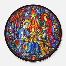 Stained Glass Style Nativity Round Car Magnet