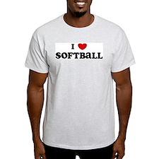 I Love Softball Ash Grey T-Shirt