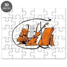 bust orange lyre violin sheet music design Puzzle