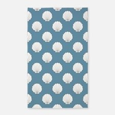 Sky Blue Clamshells Seashells 3'x5' Area Rug