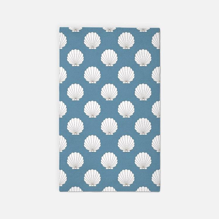 Sky Blue Clamshells Seashells 3'x5' Area Rug