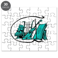 bust teal lyre violin sheet music design Puzzle