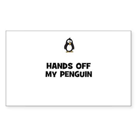 hands off my penguin Rectangle Sticker