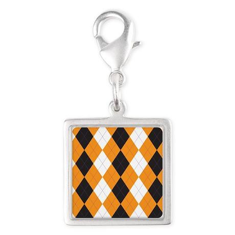 Halloween Cute Pattern Orange Black Argle Charms