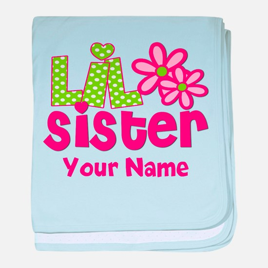 Lil Sister Pink Green baby blanket