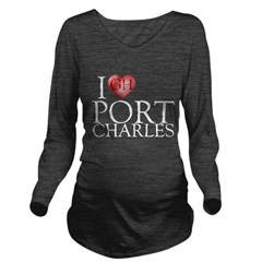 I Heart Port Charles Long Sleeve Maternity T-Shirt