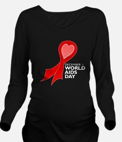 World AIDS Day Red Ribbon Long Sleeve Maternity T-