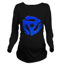 Blue 45 RPM Adapter Long Sleeve Maternity T-Shirt