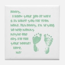 Daddy, Blue Foot Prints Tile Coaster
