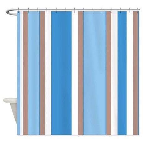 Brown White And Blue Stripes Shower Curtain By FamilyFunShoppe