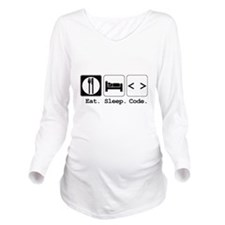 eat sleep code.png Long Sleeve Maternity T-Shirt