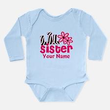 Little Sister Pink Zebra Body Suit