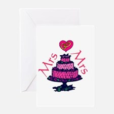 Mrs and Mrs Cake Greeting Cards