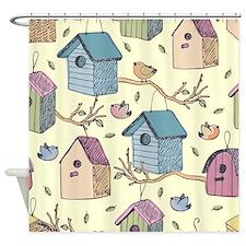 Cute Birdhouses Shower Curtain