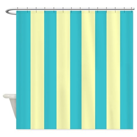 Retro blue and yellow Stripes Shower Curtain by laughoutlouddesigns1