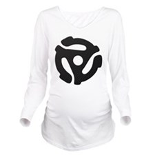 Black 45 RPM Adapter Long Sleeve Maternity T-Shirt
