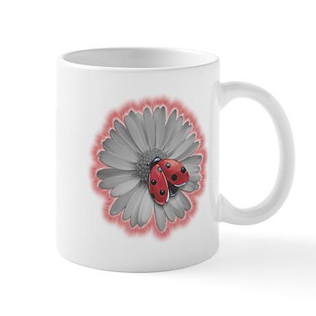 Ladybug on Black and White Daisy Mug