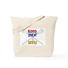 Lacrosse Blood Sweat and Beers Tote Bag