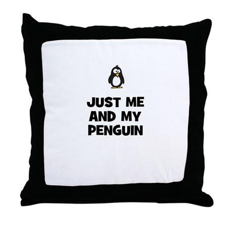 just me and my penguin Throw Pillow