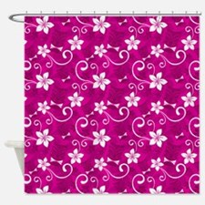 Tropical Floral Tiki Pink Shower Curtain