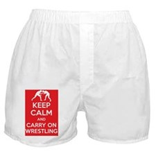 Keep calm and carry on wrestling Boxer Shorts