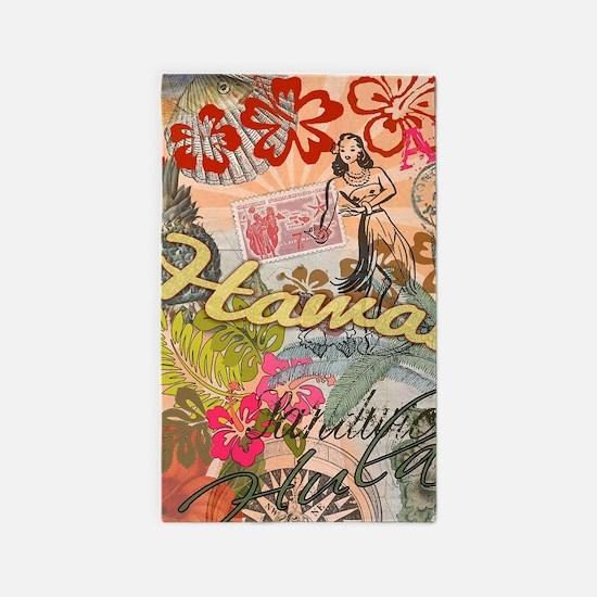 Vintage Hawaii Travel Colorful Hawaiian T Area Rug