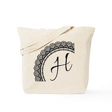 Black Lace Look Monogram Tote Bag