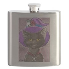 Gothic Black Witch Kitty Flask
