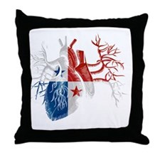 Panama Flag in Real Heart Throw Pillow