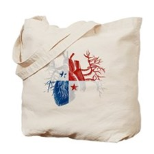 Panama Flag in Real Heart Tote Bag