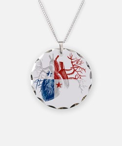 Panama Flag in Real Heart Necklace