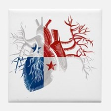 Panama Flag in Real Heart Tile Coaster