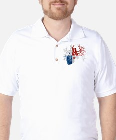 Panama Flag in Real Heart T-Shirt