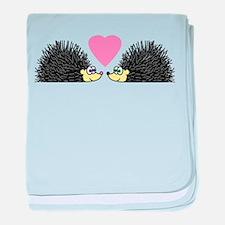 Cute Hedgehogs in Love baby blanket