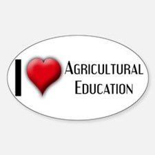 I Love (Heart) Agricultural E Oval Decal