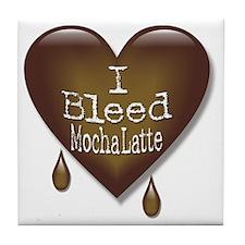 I Bleed Mocha Latte Heart Tile Coaster