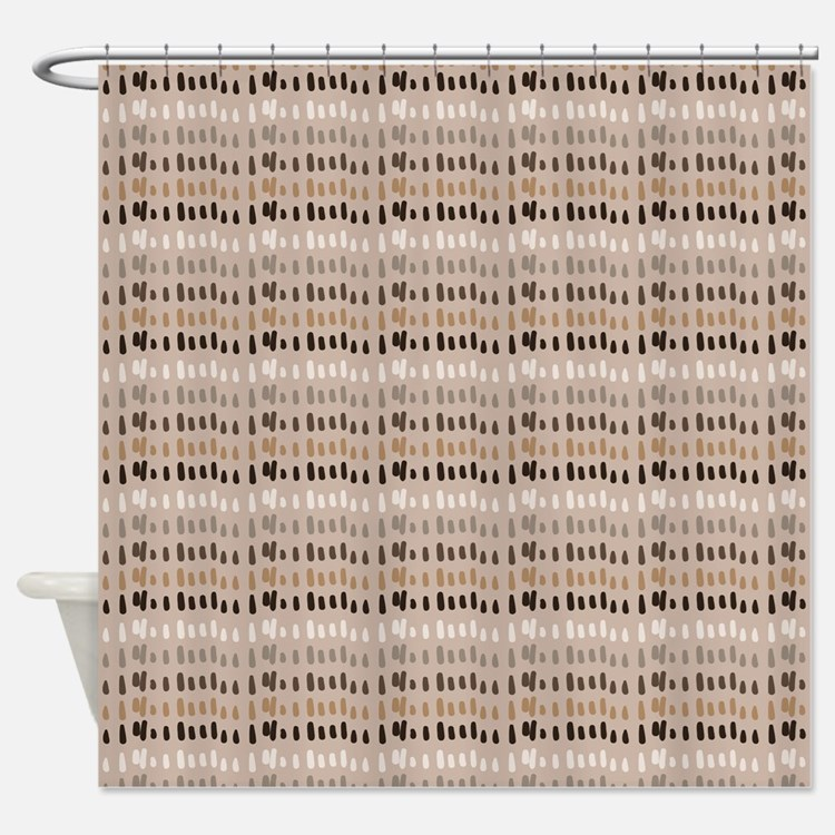 Brown Gray Tan Charcoal Cream Colors Shower Curtains