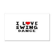 I Love Swing Car Magnet 20 x 12