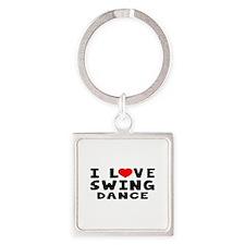 I Love Swing Square Keychain