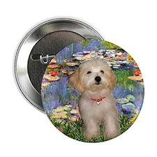 Lilies & Havanese Pup Button