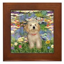 Lilies & Havanese Pup Framed Tile