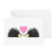 Cute Hedgehogs in Love Greeting Cards
