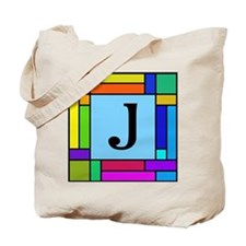 Pop Art Color Block Monogrammed Tote Bag