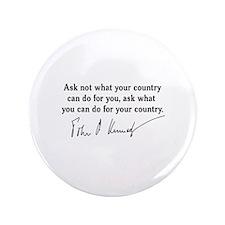 """JFK Inaugural Quote 3.5"""" Button"""