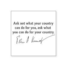 """JFK Inaugural Quote Square Sticker 3"""" x 3"""""""