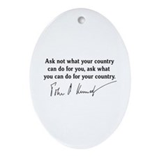 JFK Inaugural Quote Ornament (Oval)
