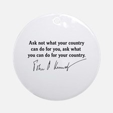 JFK Inaugural Quote Ornament (Round)