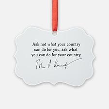 JFK Inaugural Quote Ornament