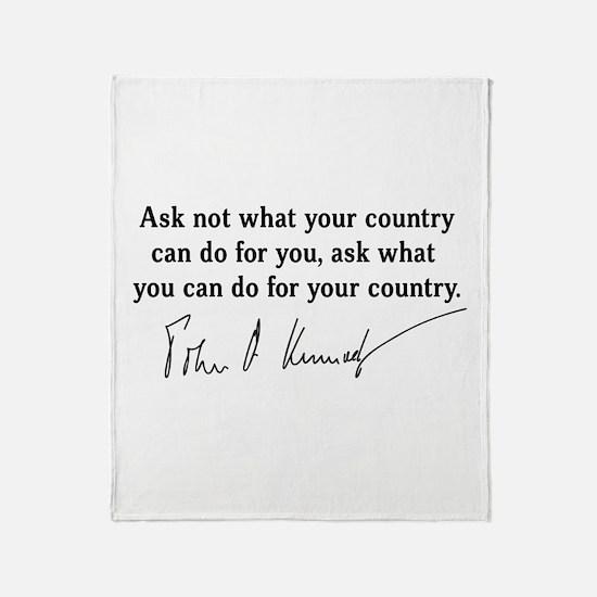 JFK Inaugural Quote Throw Blanket