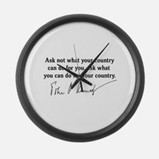 JFK Inaugural Quote Large Wall Clock